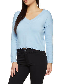 Frayed V Neck Sweater - 1020051930845