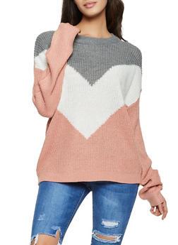 Chevron Color Block Sweater - 1020054261363