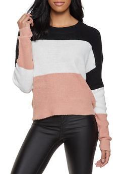 Crew Neck Color Block Sweater - 1020054261491