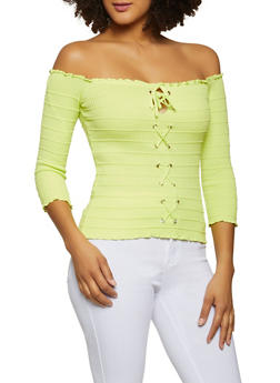 Lace Up Off the Shoulder Top - 1020054263580