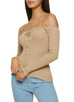 Lace Up Front Off the Shoulder Top - 1020054263915