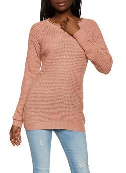 Crew Neck Waffle Knit Sweater - 1020054264907