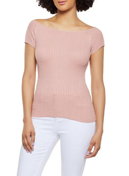 Ribbed Short Sleeve Top - 1020054265837