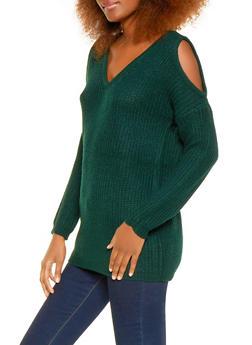 Cold Shoulder V Neck Sweater - 1020054266838