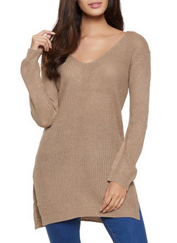 Caged Back V Neck Sweater - 1020054266882