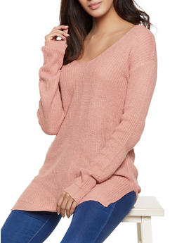 Caged Back V Neck Sweater - 1020054266882