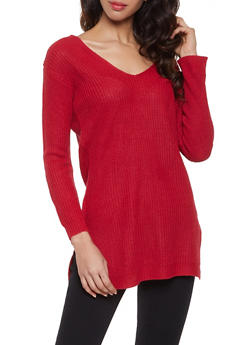 Caged Back V Neck Sweater - 1020054267882