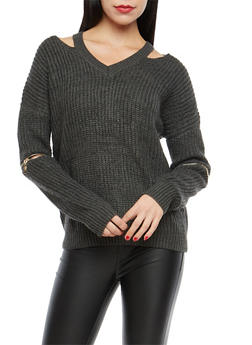 Chunky Knit Elbow Zip Sweater - 1020069391493