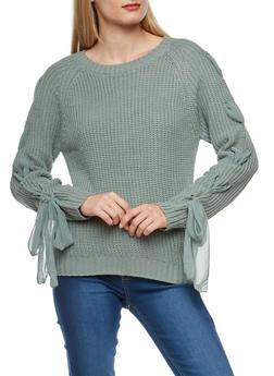 Chiffon Lace Up Sleeve Knit Sweater - 1020069391537