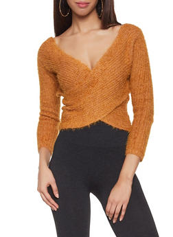 Feathered Knit Faux Wrap Sweater - 1020069391575