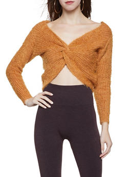 Knotted Back Feathered Knit Sweater - 1020069391576