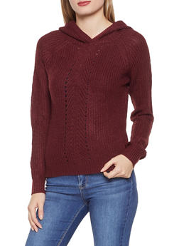Hooded Knit Sweater - 1020074051348