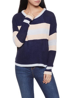 Striped Crew Neck Sweater - 1020074051388