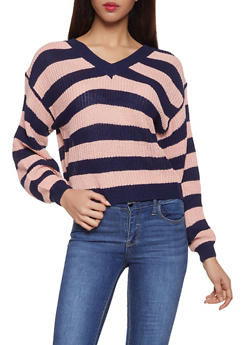 Striped V Neck Sweater - 1020074051406