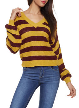 Striped V Neck Sweater - 1020074051406
