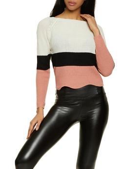 Color Block Scoop Neck Sweater - 1020074051468