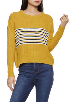 Stripe Detail Crew Neck Sweater - 1020074051697