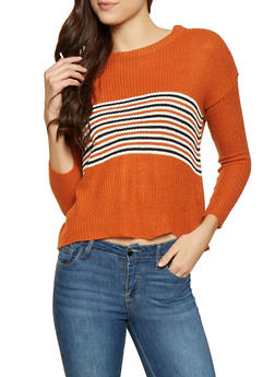 Stripe Detail Crew Neck Sweater - 1020074051697