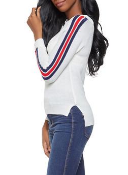 Striped Sleeve Crew Neck Sweater - 1020074051738