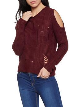 Slashed Knit Cold Shoulder Sweater - 1020074051854