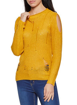 Slashed Knit Cold Shoulder Sweater - 1020074051854