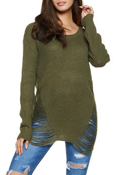 Distressed Knit Tunic Sweater - 1020074052465