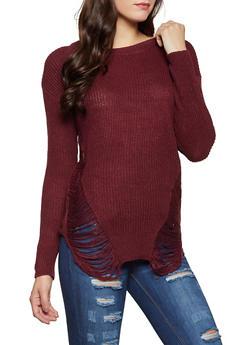 Distressed Knit Tunic Sweater - 1020074052465