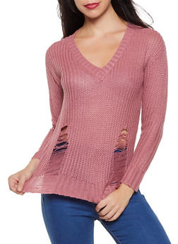 Distressed Detail Sweater - 1020074052803