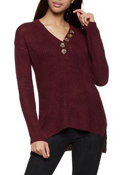 Long Sleeve Button Detail Sweater - 1020074052864