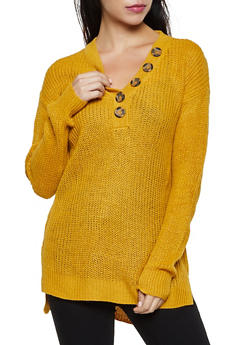 Long Sleeve Button Detail Sweater - 1020074052864