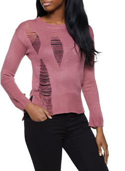 Long Sleeve Distressed Sweater - 1020074053737