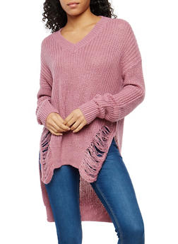 Destroyed High Low Knit Sweater - 1020074280902