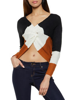 Tri Tone Twist Front Sweater - 1020075170100