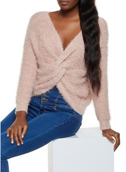 Twist Front Eyelash Knit Sweater - 1020075170165