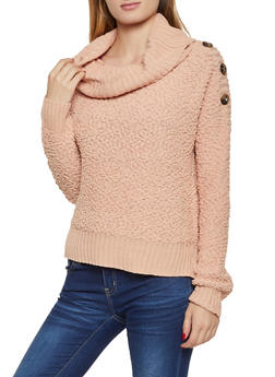 Popcorn Knit Cowl Neck Sweater - 1020075170285