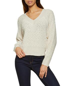 V Neck Popcorn Knit Sweater - 1020075170286
