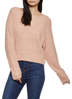 V Neck Popcorn Knit Sweater - 1020075170286