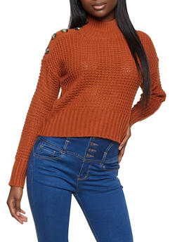 Waffle Knit Button Detail Sweater - 1020075170314