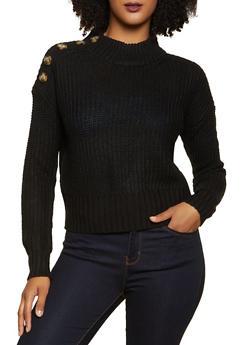 Button Shoulder Detail Sweater - 1020075170331