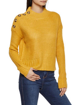 Button Shoulder Detail Sweater - 1020075170331
