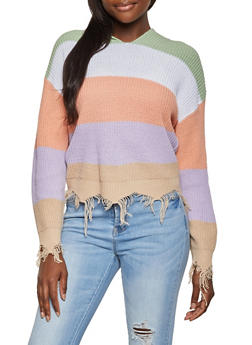 Color Block Hooded Sweater - 1020075170934