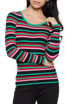 Striped Scoop Neck Long Sleeve Sweater - 1020075171006