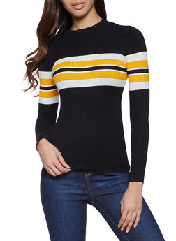 Striped Detail Mock Neck Sweater - 1020075172064