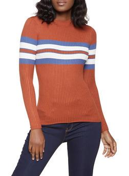 Striped Detail Mock Neck Sweater - 1020075172064
