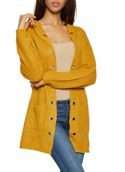 Grommet Trim Hooded Knit Cardigan - 1022034289730