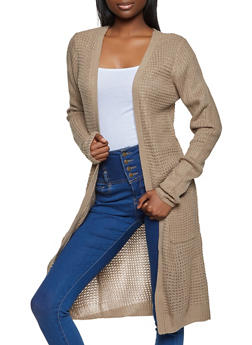 Long Sleeve Waffle Knit Duster - 1022054265818