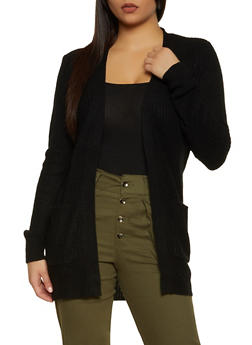 Solid Long Sleeve Knit Cardigan - 1022054266840