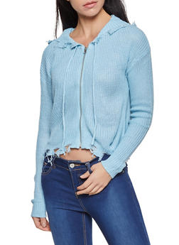 Frayed Zip Front Sweater - 1022074052880