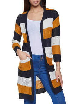 Contrast Trim Striped Duster - 1022075170046