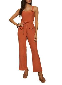 Soft Knit Belted Jumpsuit - 1045015050446